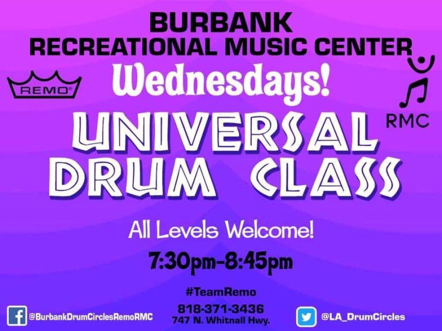 Wednesday Universal Drum Class 7:30p.m.